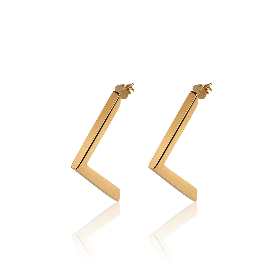 Boomerang, Gold Earrings