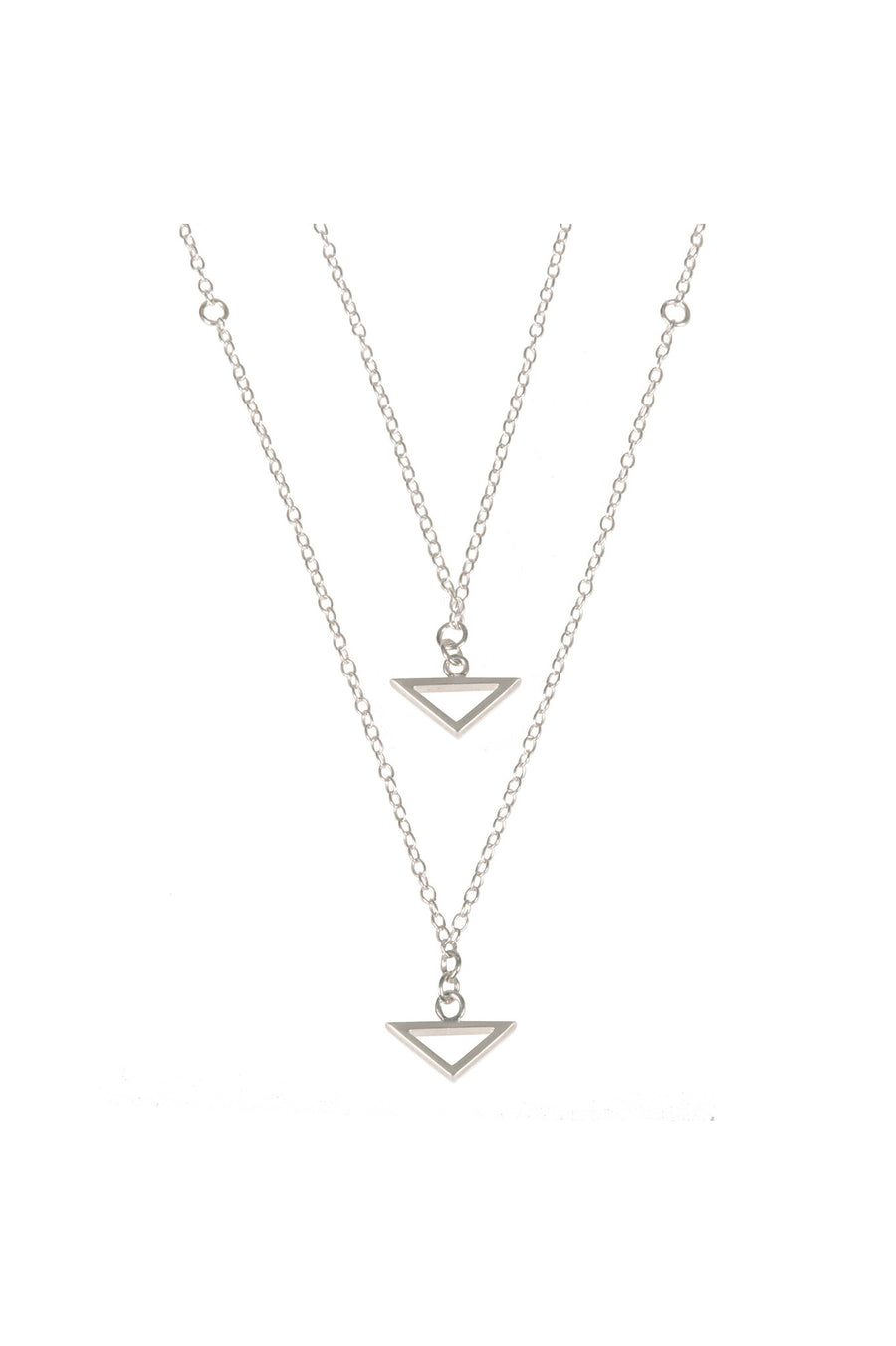 Double Trouble, Silver Multi-Layered Necklace