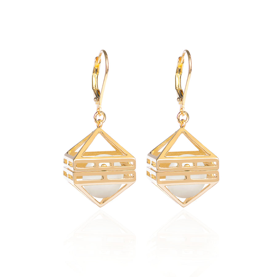 Beauty Within Earrings with Pearls, Gold