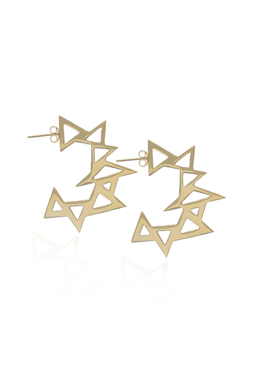 Throwing Star, Gold Earrings