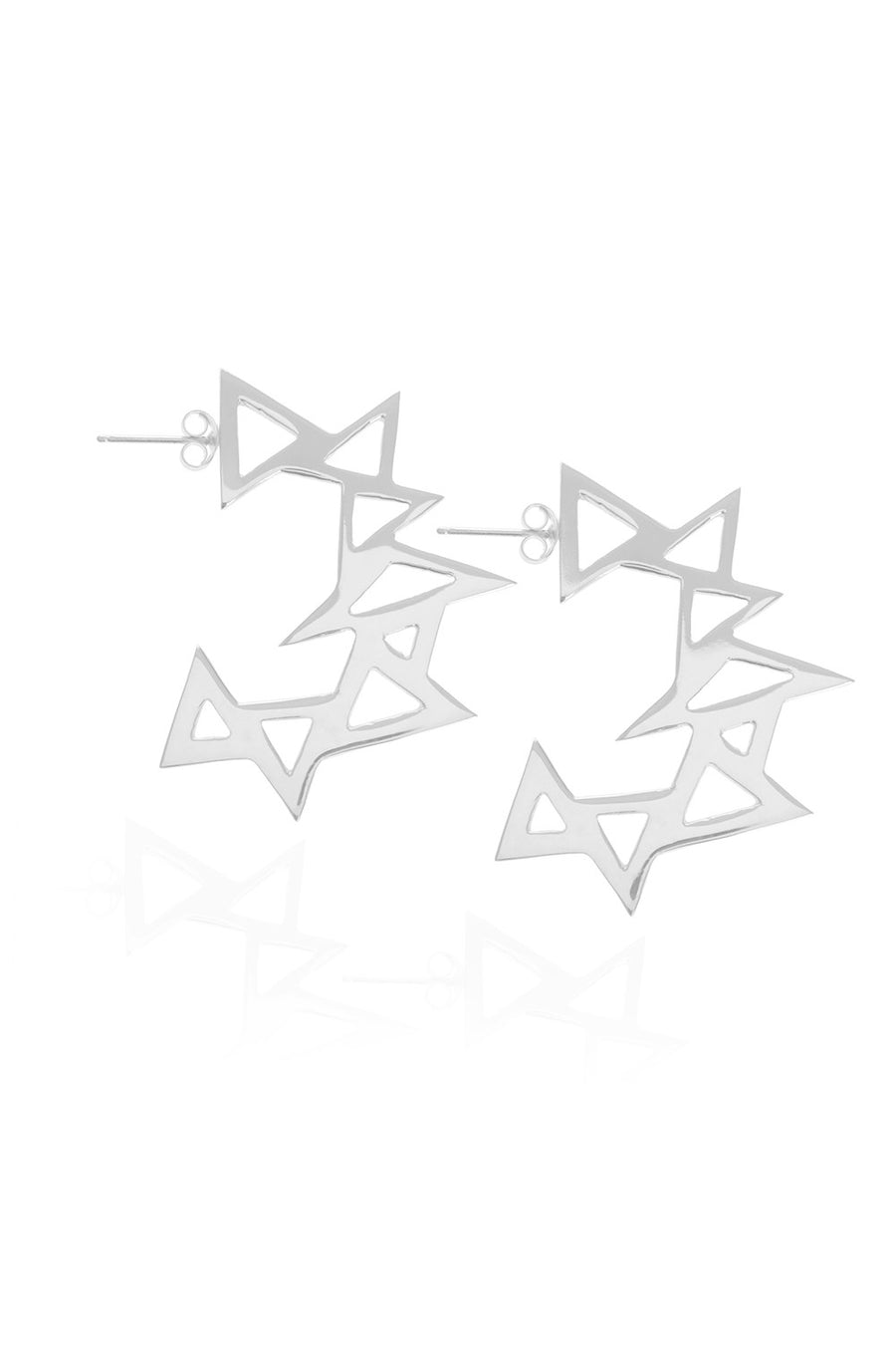 Throwing Star, Silver Earrings