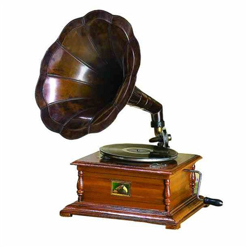 Gramophone with Antique Brass Horn