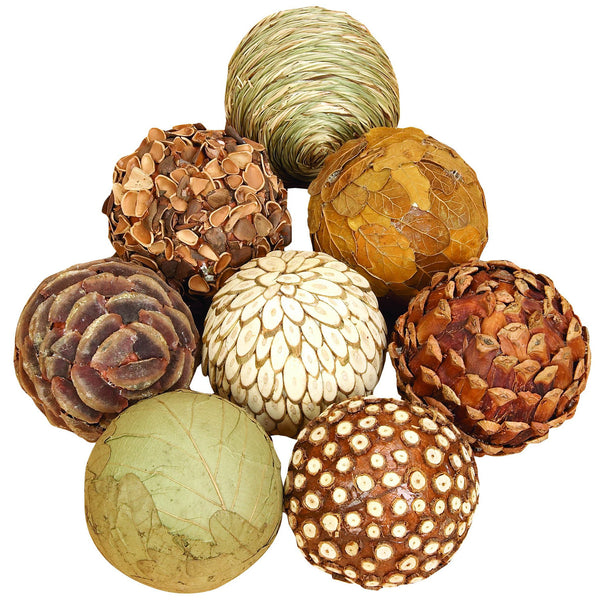 Decorative Bamboo Ball Sculpture - Set of 8