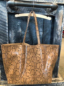 FAUX SNAKESKIN BAG WITH POUCH INSERT
