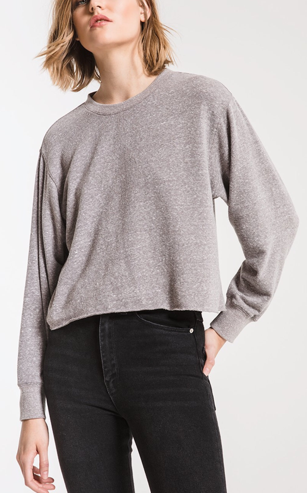 THE TRIBLEND LONG SLEEVE CROPPED TEE