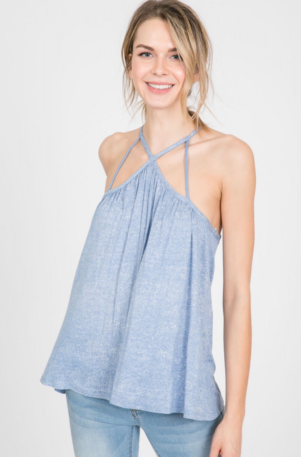 SLEEVELESS WASHED JERSEY TANK HALTER TOP