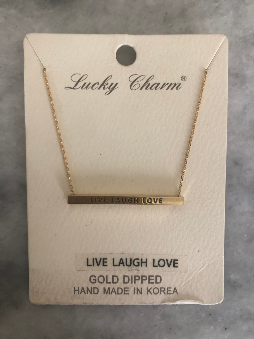 "BAR NECKLACE ""LIVE LOVE LAUGH"