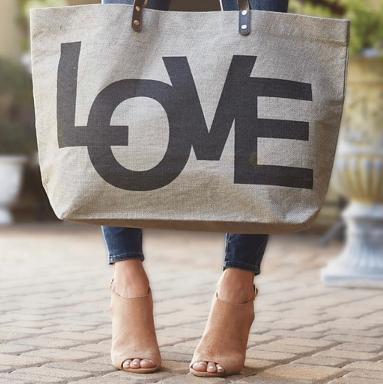 "LARGE JUTE TOTE - ""LOVE"" ""GYM"" ""YOGA"" "" LUCKY"