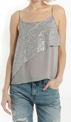 Asymetrical  Sequin Contrast Cami Top