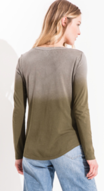 The Ombre Long Sleeve V-Neck Tee