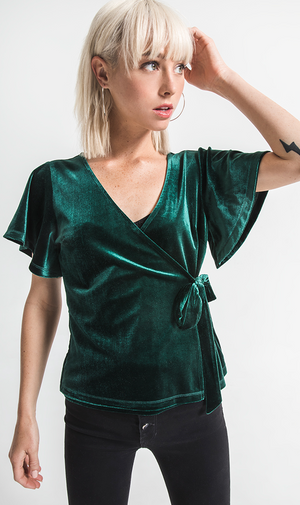 OTHERS FOLLOW FOREST GREEN VELVET WRAP TOP