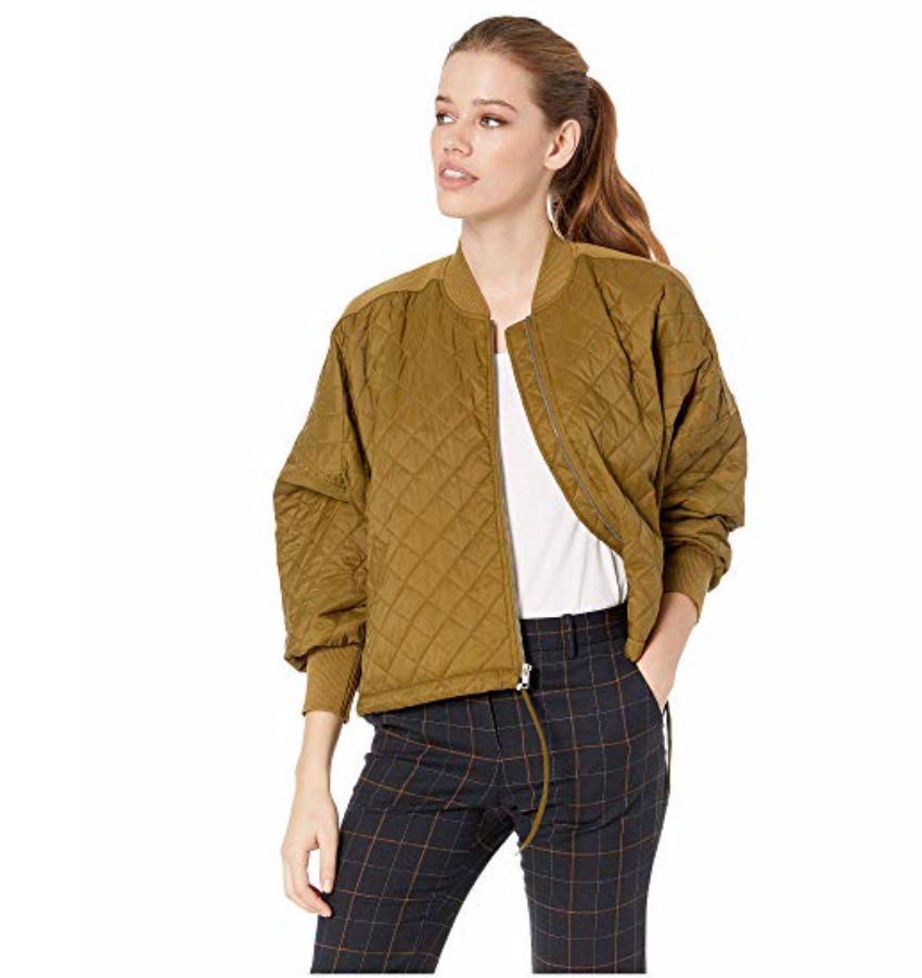 JACK BY BB DAKOTA GIRL FRIDAY QUILTED BOMBER JACKET WITH RIB TRIM
