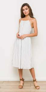 MITERED STRIPED HALTER DRESS