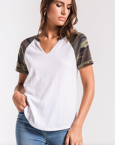 THE CAMO SHORT SLEEVE BASEBALL TEE