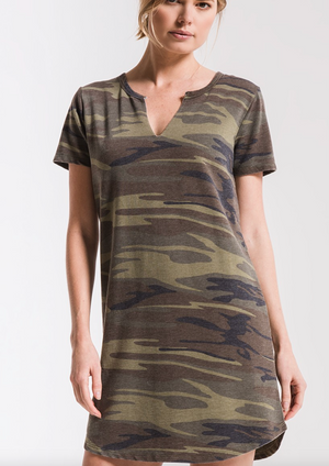 THE CAMO SPLIT NECK DRESS
