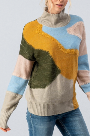 ABSTRACT TEXTURED COLOR BLOCK SWEATER