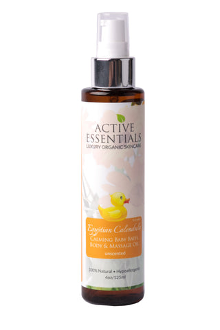 Egyptian Calendula (Unscented) Calming Baby Bath, Body & Massage Oil