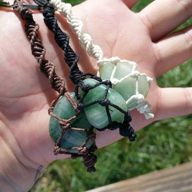 Hemp Wrapped Aventurine Crystal Keychain