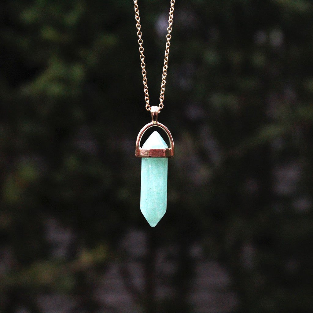 Cyan Fluorite Natural Healing Crystal Necklace