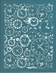 Clocks Hourglass Pattern Ceramic Pottery Silk Screen Stencil