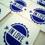DIY screen printed personalized wedding coasters