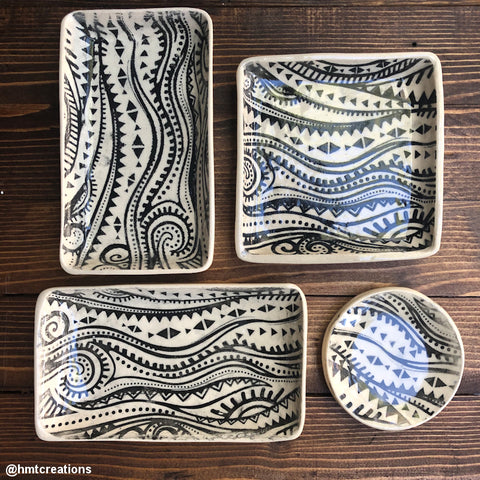Silk Screen Printed Ceramic Plates Ethnic Waves Design Stencil