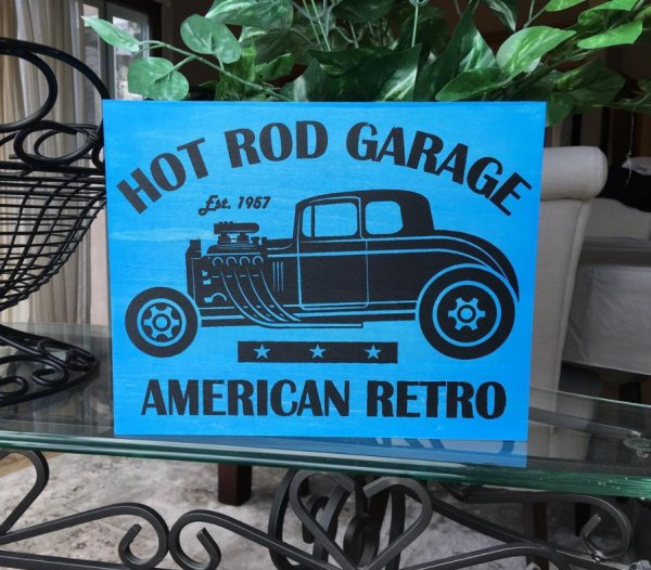 Screen Printed Hot Rod Garage Wooden Sign