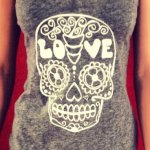 DIY screen printed sugar skull & mermaid t-shirts