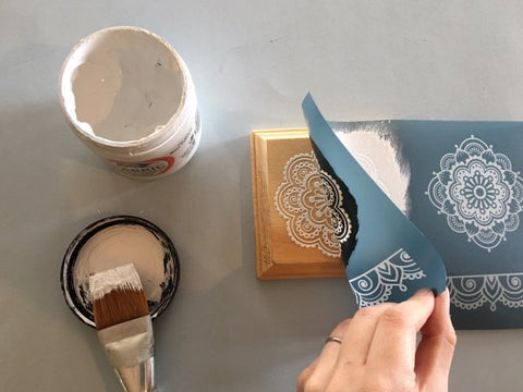 DIY Screen Print Mandala Wood Coaster