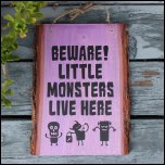 DIY Screen Printed Halloween Little Monsters Wood Sign
