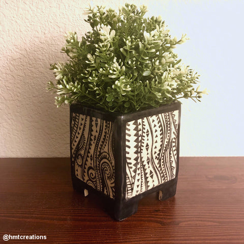 Silk Screen Printed Ceramic Planter Ethnic Waves Design Stencil
