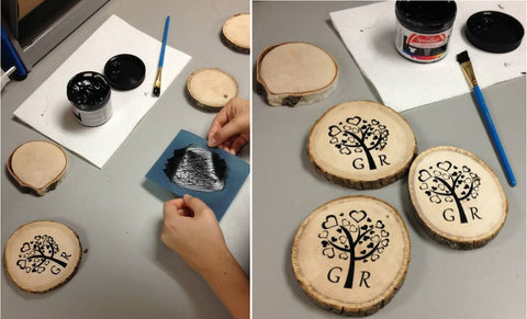 DIY Screen Printed Wooden Coasters