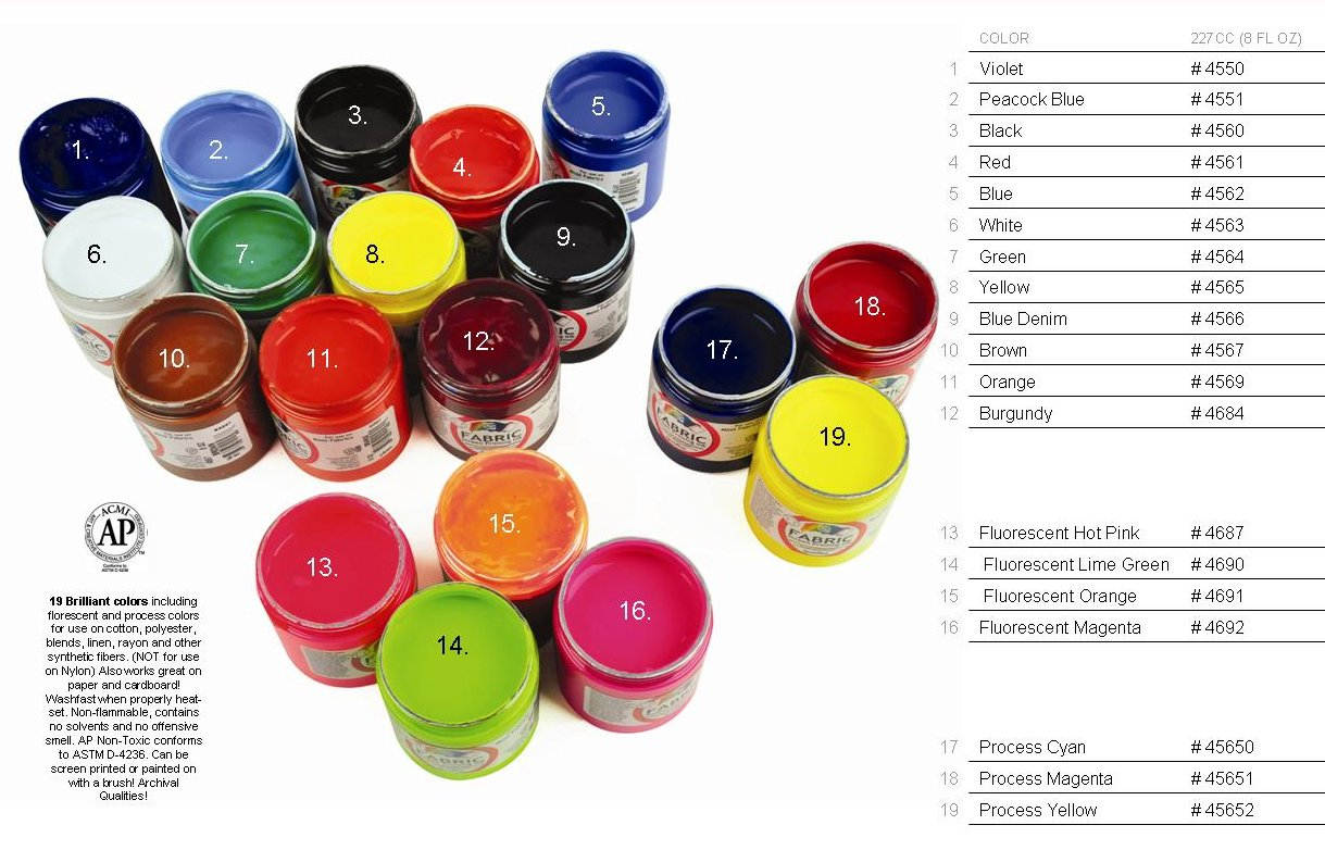 Speedball Screen Printing Inks Color Chart