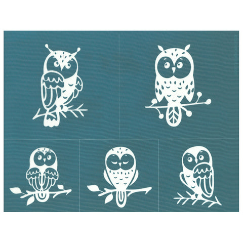 Cute Owl Caricatures Ceramic Silk Screen Stencil