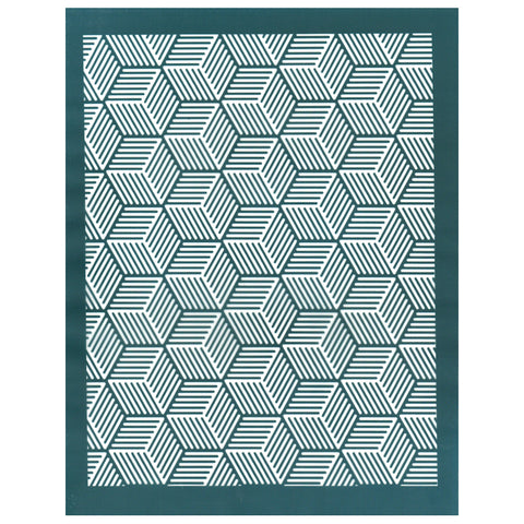 Geometric Hexagon Cube Pattern, Designer Silk Screen Stencil