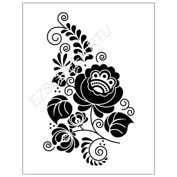 Ready To Use DIY Screen Printing Stencil, Ornate Flower ...
