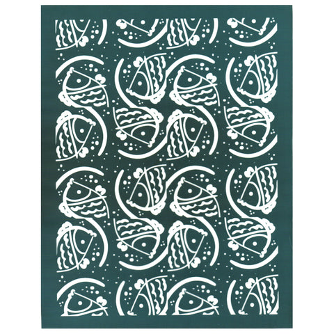 Abstract Fish Pattern DIY Silk Screening Design Stencil