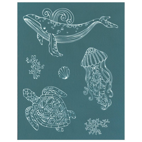 Designer Silk Screen Stencil, Ocean Animals Sea Life Images