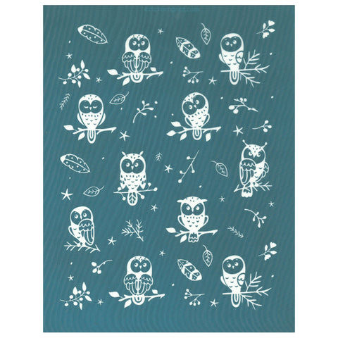 Owl Caricatures Pattern Silk Screen Print Design Stencil