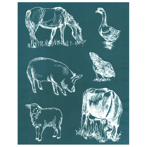 Farmhouse Animals Combo Design Stencil DIY Silk Screening