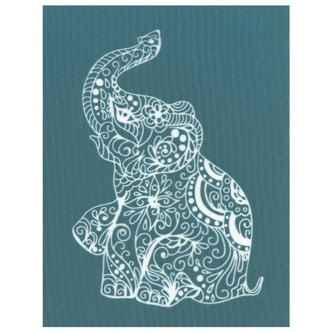 Decorated Asian Elephant Design Silkscreen Stencil