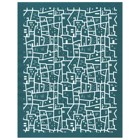 DIY Designer Silk Screen Print Stencil City Blocks Pattern