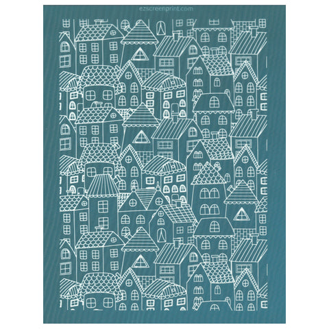 Little Houses Silk Screen Printing Design Stencil