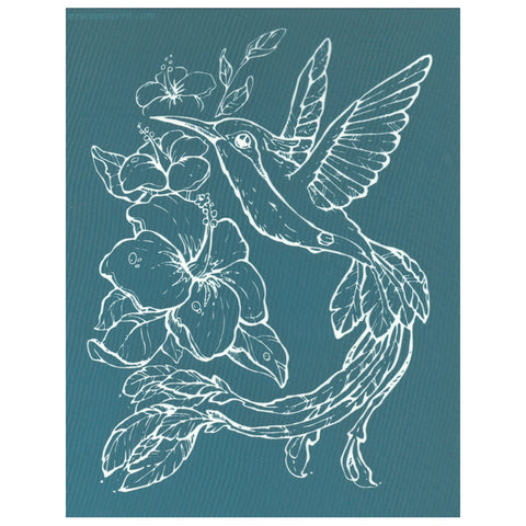 DIY Screen Printing Design Stencil, Hibiscus Hummingbird