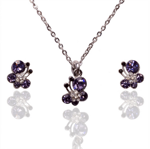 Crystal Butterfly Necklace And Earrings Set
