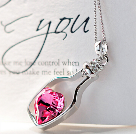 Captured Heart In A Bottle Necklace