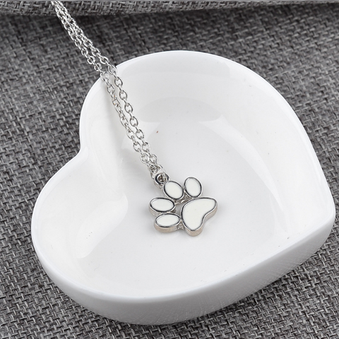 Cat Paw Claw Print Pendant Necklace White Enamel