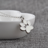 Image of Cat Paw Claw Print Pendant Necklace White Enamel