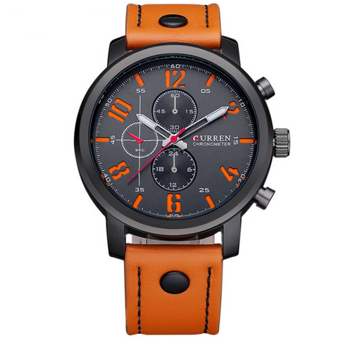 2016 CURREN Casual Men's Leather Sports Quartz Watch