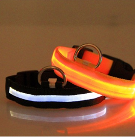 Nylon Dog Cat LED Collar Light Night Safety Flashing Glow in the Dark Collar
